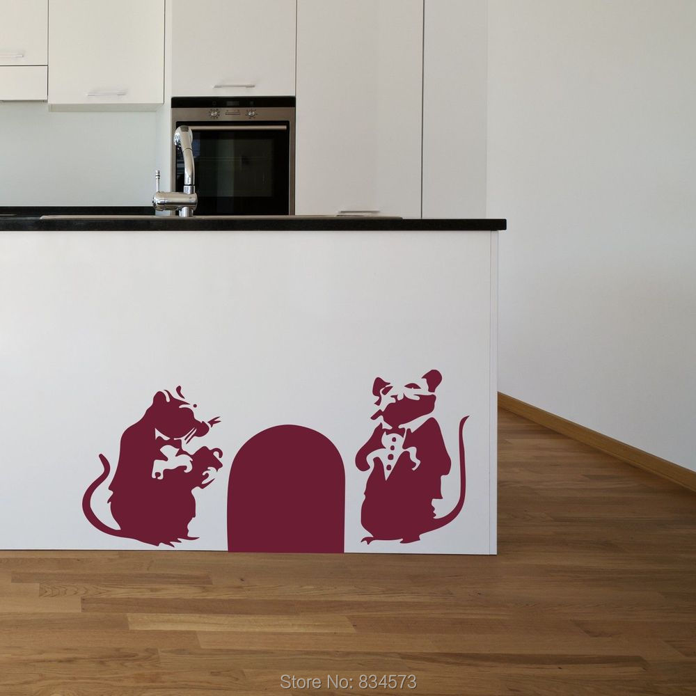 BANKSY RATS HOLE GRAFFITI Wall Art Sticker Decal Home DIY Decoration Decor Wall Mural Removable Bedroom Decal Sticker 57x119cm()