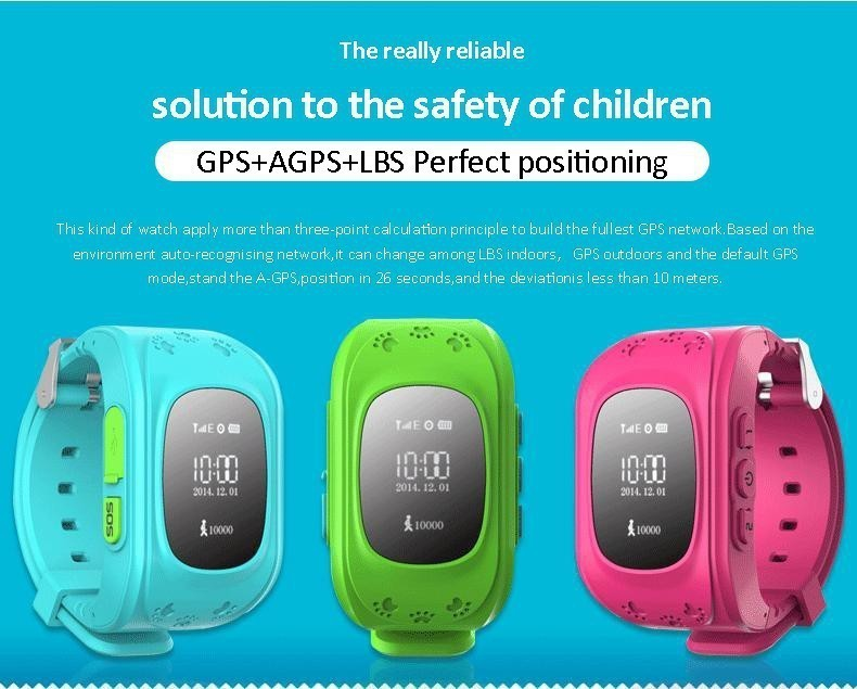 image for 2016 Smart Kid Safe GPS Watch Wristwatch SOS Call Location Finder Loca