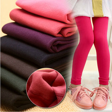 Retail 3-11years leggings candy thickened velvet children Kids infant Baby Combed Cotton spring autumn fall winter(China (Mainland))