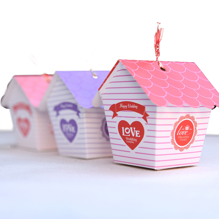 Foldable paper card candy boxes sweet love house wedding candy box 50pcs/lot(China (Mainland))