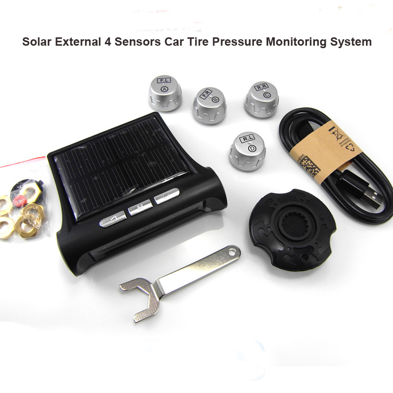 Portable Car Tire Pressure Monitoring System TP880 LCD Display 4 External Sensors Auto Alarm System Solar Energy Diagnostic Tool(China (Mainland))