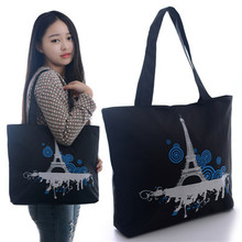 2015 Fashion Black Women Girls PARIS Towels Handbag Shoulder Bags Tote Bags Canvas Hobo Bags Free