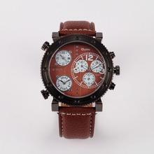 2015 Hot Oulm 3421 hombres reloj militar con tres Movt números y tiras horas Marks cuero banda de cuarzo deportes hombres reloj