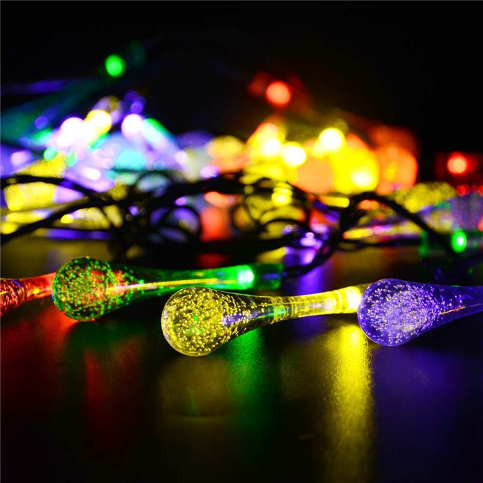 Unusual Christmas String Lights : 4.8M 20leds Outdoor Solar LED Raindrop String Light RGB energia solar Novelty christmas ...