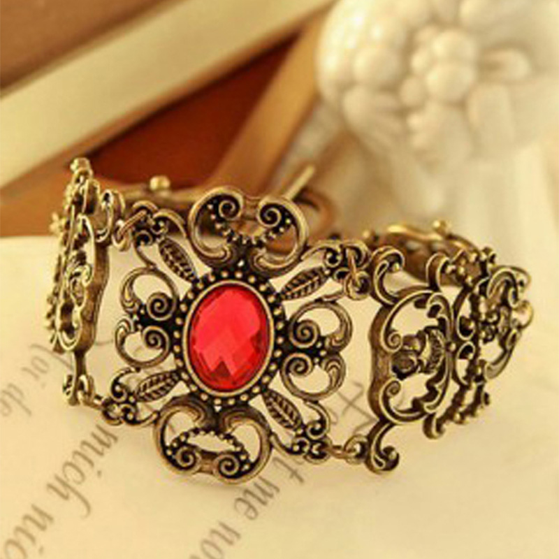 Vintage Red Crystal Bracelets For Women Hollow Metal Flower Rhinestones Stone Charm Cuff Bangle Chain Gold Wristbands Jewelry(China (Mainland))