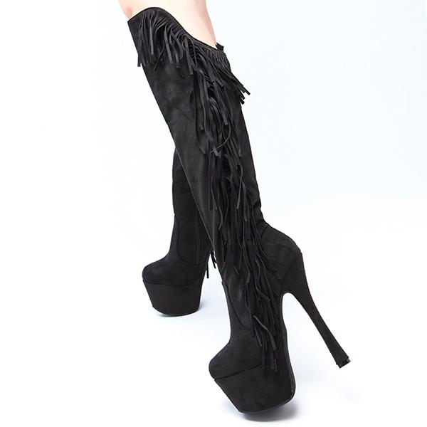 2015 KVOLL Simples rebanho moda Borlas rodada dedo do pé das senhoras inverno overknee botas longas botas de salto alto à prova d' água(China (Mainland))
