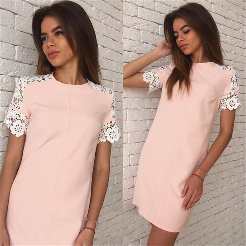 2016 женщины летняя мода кружева рукав платья о-образным вырезом повседневная платье плюс размер белый и розовый и буле 3 цвет