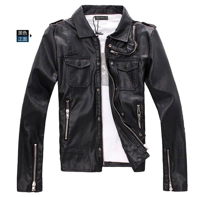 Men Motorcycle Leather Jacket - Jacket
