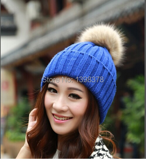 New Women's Candy Beanie Knitted Cap Crochet Faux Rabbit Fur Pompons hat Curling Ear Protect Cute Casual Cap Women Beanies(China (Mainland))