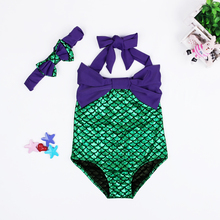 2016 Cute Girls Swimwear Kids Mermaid Swimsuit Bodysuit + Bow Headband Children Bikini Sets Bathing Suit Toddler Girls BeachWear(China (Mainland))