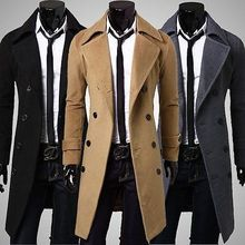 Free Shipping Men Gentlemanlike Coat Double Breasted Full Lining Winter Jacket Overcoat 2015 New Arrival Promotion(China (Mainland))