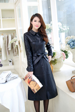 Longer section Women's Clothing Coats Genuine leather sheepskin Windbreaker New autumn Direct supply from factory wholesalef(China (Mainland))