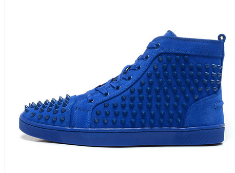 Здесь можно купить  2015 New Men&Women Blue Suede With Spikes High Top Red Bottom Causal Shoes,Fashion Lovers Luxury Designer Flat Shoes 36-46  Обувь