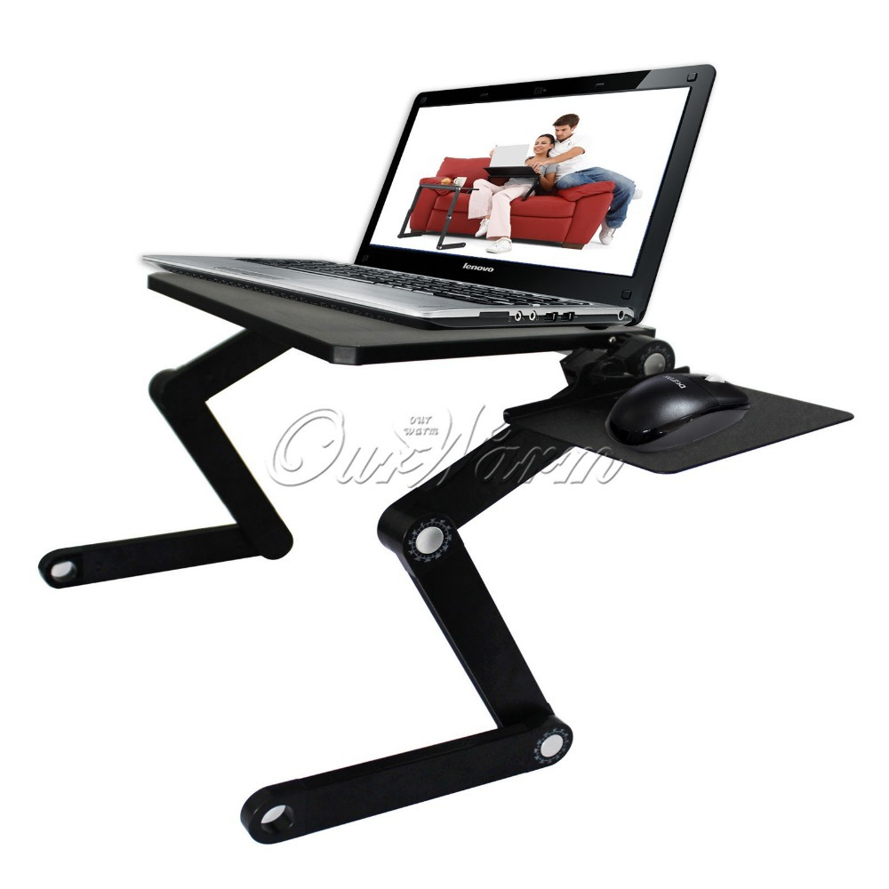 Newest 360 Degree Adjustable T3 Aluminum PC Notebook Laptop Folding Desk Stand Table Tray with Mouse Pad Bed Sofa Office(China (Mainland))