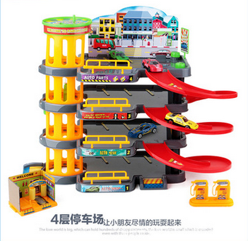 Children's creative model toy three-dimensional puzzle multilayer assembly track car park set car toy boy(China (Mainland))