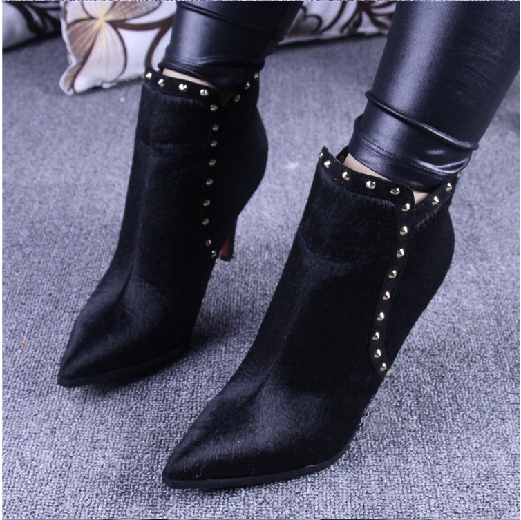 Big size 35-45 Black Red Comfortable Full grain leather Zip Women boots Thin heels High heels Ankle Shoe woman free ship 997-8(China (Mainland))
