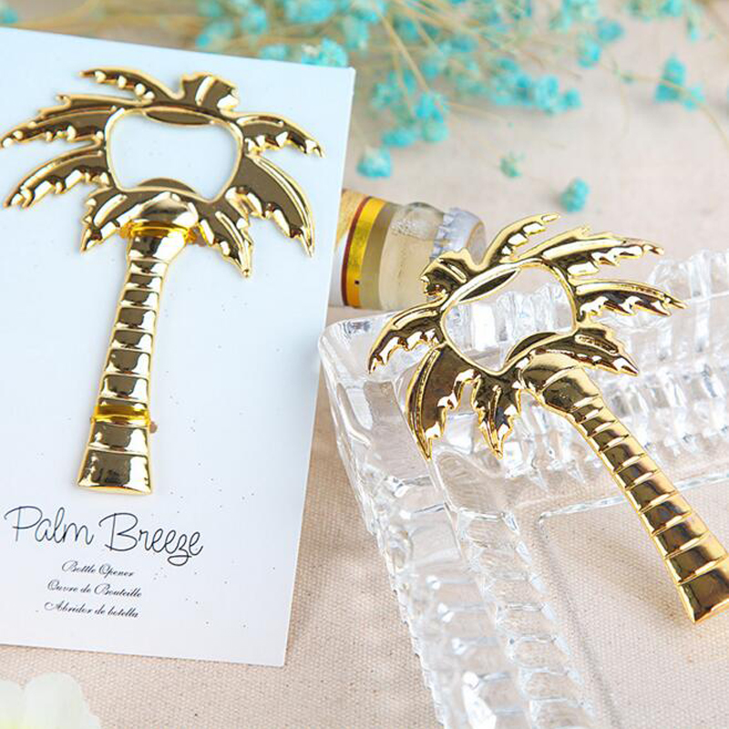 (20 pieces/lot)Free Shipping Gold Palm Tree Bottle Opener Coconut Beer Bottle Opener Wedding Favors Gift Party Decoration(China (Mainland))