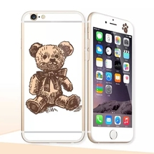 Glow in the dark luminous raised cartoon bear Tempered Glass film Screen Protector+back cover for iPhone 6 case 6S 6 Plus 6splus