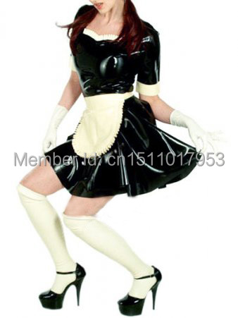 2015 Real Sex Products Clubwear Latex Catsuit Sexy Uniform Clothes Maid Costume Dress Pleated Skirt Short Sleeves Free Shipping(China (Mainland))