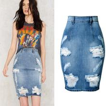 Free Sipping Summer Jeans Skirt Package Hip Split Skirts Sexy High Waist Denim Skirt Slim Zipper Holes Ripped Girls Skirts B23