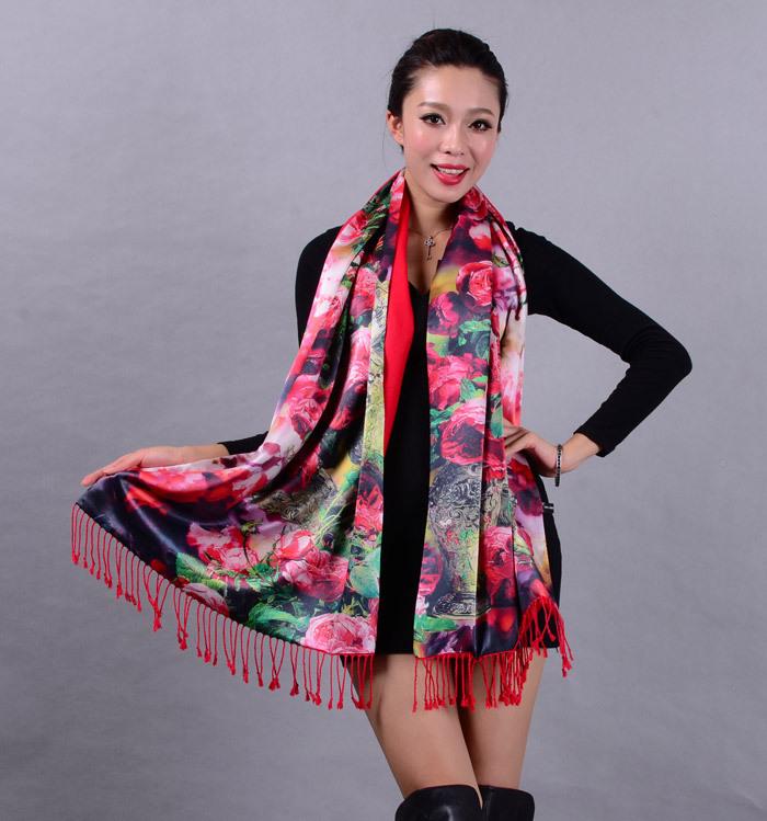 Autumn and winter women's silk scarf fur shawl quality mulberry silk double faced silk scarf zwj13