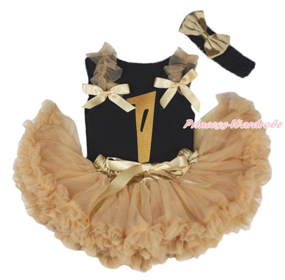 Gold Birthday 1ST Black Top Shirt Goldenrod khaki Baby Girls Skirt Outfit 3-12M MAPSA0837(Hong Kong)