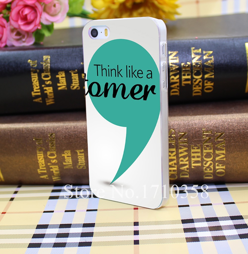 Think Like A Customer Poster Style Hard Transparent Phone Cover for iPhone 5 5s 4 4s 5c 6 6s plus cases(China (Mainland))