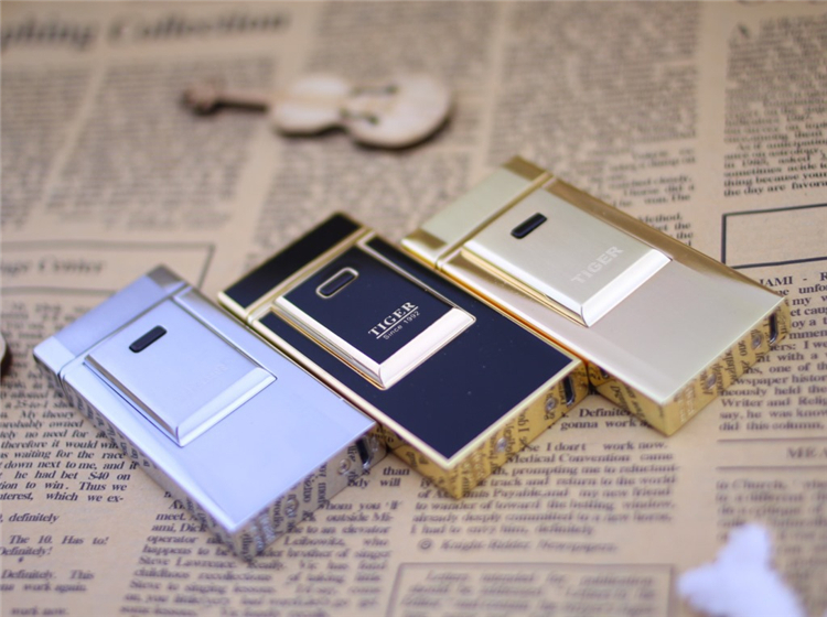 Tiger lighter windproof ultra-thin metal pulse charge usb lighter electronic cigarette lighter Wholesale Lighters free shipping(China (Mainland))
