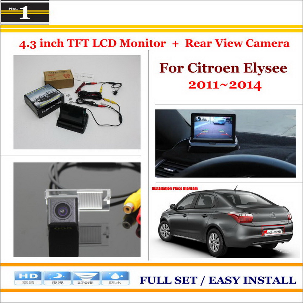 """For Citroen Elysee 2012~2014 - Car Reverse Backup Rear Camera + 4.3"""" TFT LCD Screen Monitor = 2 in 1 Rearview Parking System(China (Mainland))"""