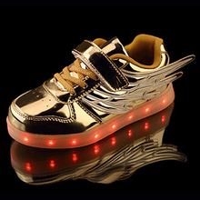 New Children Casual Shoes With Light Up Sneakers For Kids USB Charging Led Glowing Sneakers Boys Girls Gold Luminous Yeezy Shoe(China (Mainland))