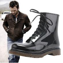 Free shipping 2015 new fashion Men shoes Men rain boots Men black Martin boots rain shoes Large size 39-45