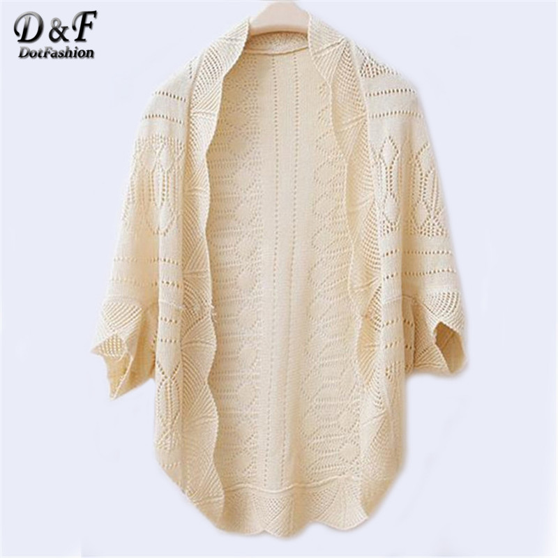 Fashion Fall Clothes Women's Knitwear Brand Novelty Ethnic Casual Beige Weave Piercing Wraps Bat-wing Sleeve Cardigans Sweater(China (Mainland))
