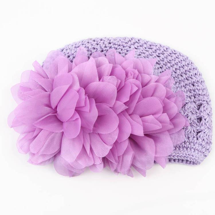Sweet Flower Crochet Beanie Knitted Cap Hat Newborn Baby Toddlers Girl Warm Handmade Caps 4 Colors(China (Mainland))