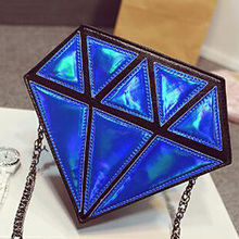 3D Women Small Shoulder Bag Diamond Shape Chain Lady Girl Messenger Crossbody Satchel Patchwork Tote Evening Bags Candy Colors