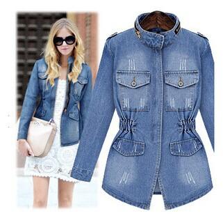 2014 fall fashion for women Europe brand water washed denim jacket vintage lady's coat joker slim casual coat(China (Mainland))