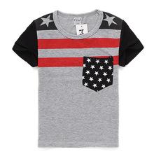 C1 2016 NEW Korean Boys O Neck Cotton T shirt Children Summer Sport Short Sleeved