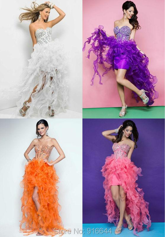 New Fashionable Custom White/Purple/Orange/Peach Organza Crystal Ruffles Short Asymmrtrical Prom Dresses Vestidos De Festa(China (Mainland))