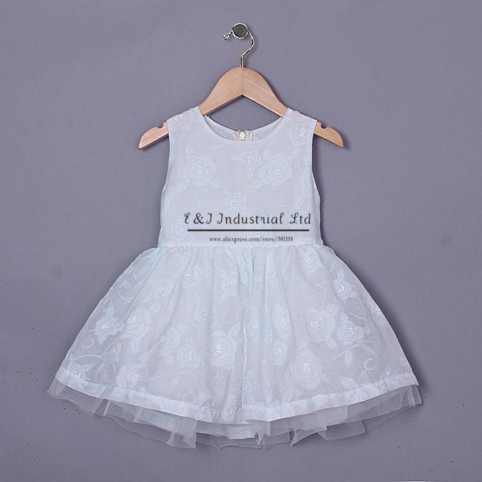 2015 New Style Girls Dress Organdy Print Flower Baby Dress Light Blue Silk Ribbon Sleeveless Kids Dress Wholesale GD50404-5(Hong Kong)