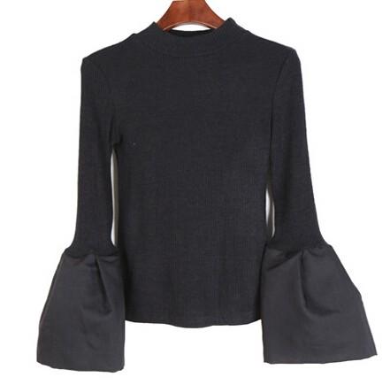 2015 Europa Rua bater parágrafo Bolha grande camisola de manga comprida Fina mulher roupas da moda livre shipping-T000121