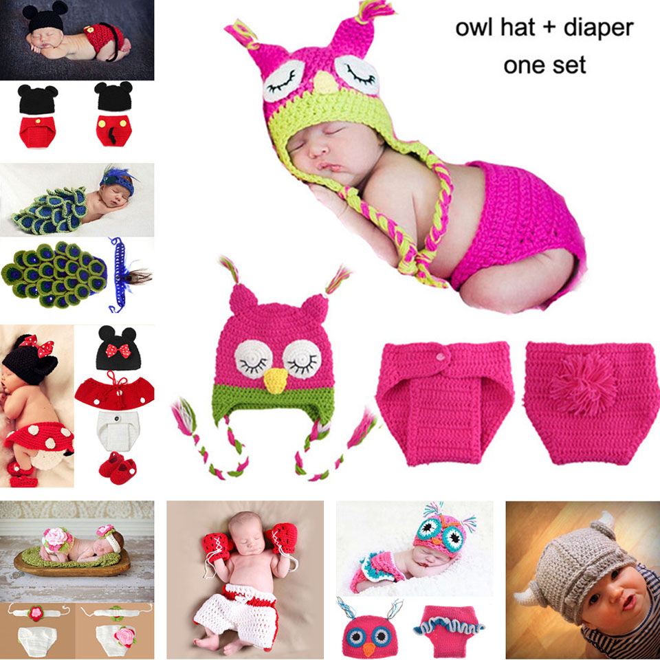 2016 Hot Sale Baby Newborn Beanie Owl Knit Crochet Hat children baby Photo Props crochet clothes MZS-15022(China (Mainland))
