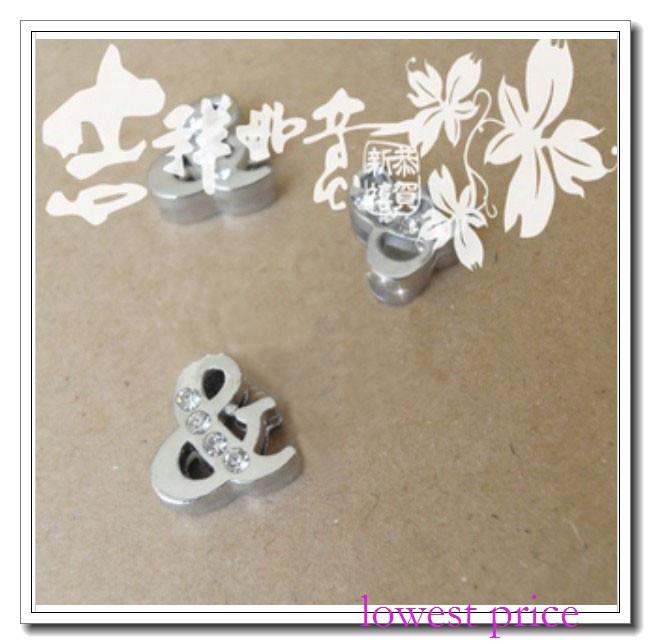"four rhinestone symbol ""&""Slide Charms 100pcs 8mm Fit Pet Dog Cat Tag Collar / Wristband free shipping(China (Mainland))"