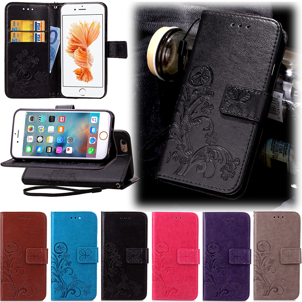 Fundas Clover Case for iPhone 6 6S Plus 5 5S SE 5C Leather Cover Luxry Retro
