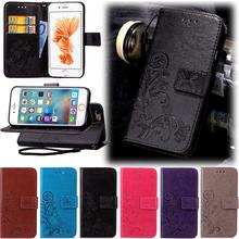 Fundas Clover Case for iPhone 6 6S Plus 5 5S SE 5C Leather Cover Luxry Retro Printing Flip Capa Telephone Mobile Accessorie casa