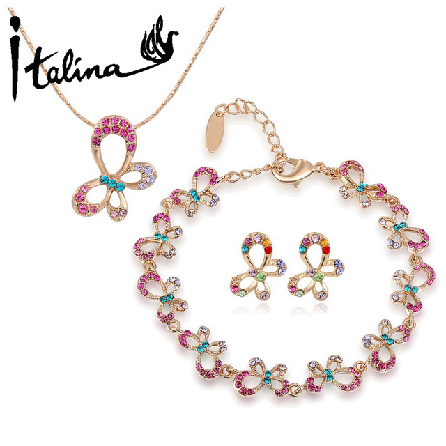 Italina New Arrival Lovely Butterfly Joias Set With Austrian Crystal Stellux Rose Gold Plated Top Quality #RG84801