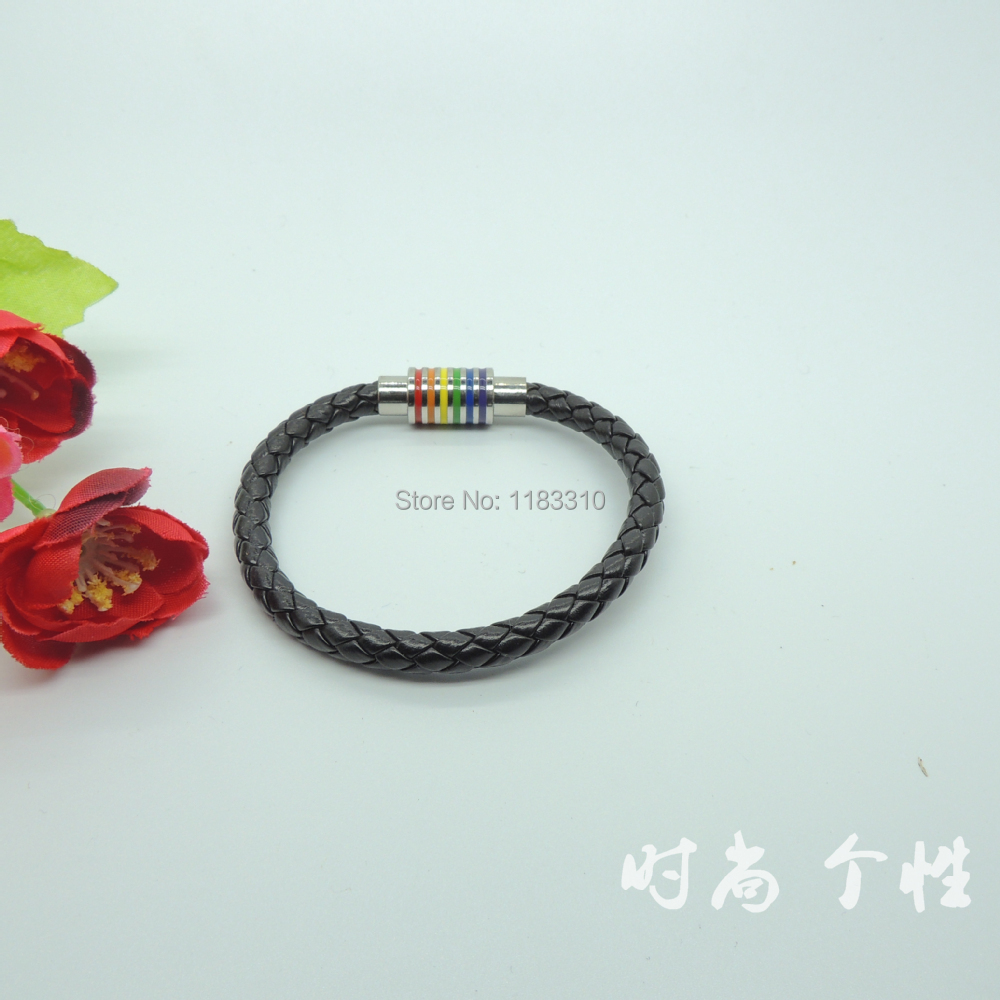 Gay Rainbow Sisters Magnet Clasp Leather Bracelet(China (Mainland))