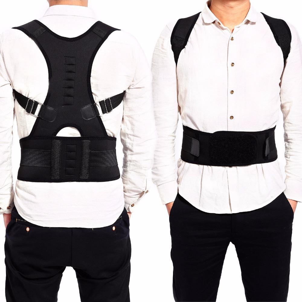 Male Female Adjustable Magnetic Posture Corrector Corset Back Men Brace Back Belt Lumbar Support Straight Corretor for Posture(China (Mainland))