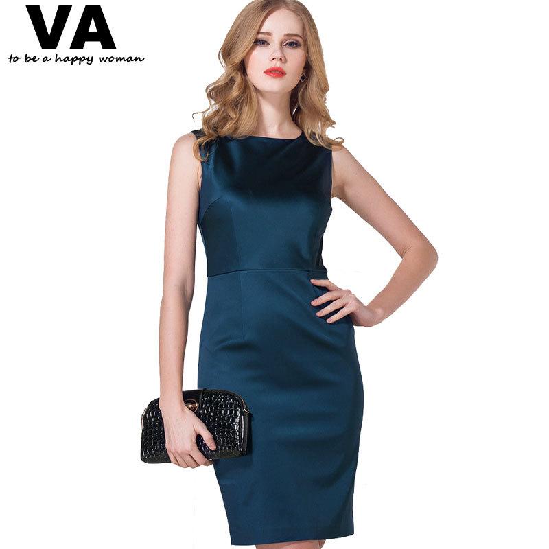 product VA Plus Size 2015 New Spring Elegant Sexy Navy O-Neck Sleeveless Women Dress Fashion Vintage Gwon Clothing Vestido 3XL 2XL W0940