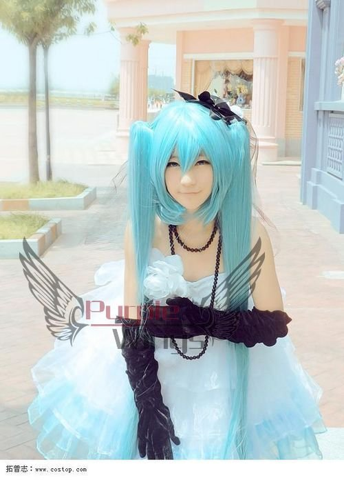 Термоустойчивый Аниме парик party Fashion Vocaloid Hatsune Miku Aqua cosplay wigs 120CM + Free парик Cap
