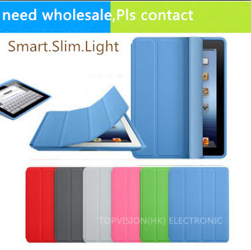 High quality! magnetic leather slim smart cover for apple ipad 4 3 2 case +crystal transparent hard back protect skin shell case(China (Mainland))