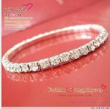 2016 star of the bright silver single-row sparkling crystal elastic bracelet wedding bangles bracelet on valentine's day(China (Mainland))